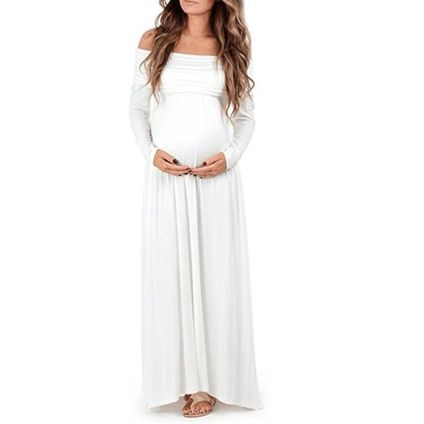 Maternity Bohemian Style Off Shoulder Props Dress dress White L