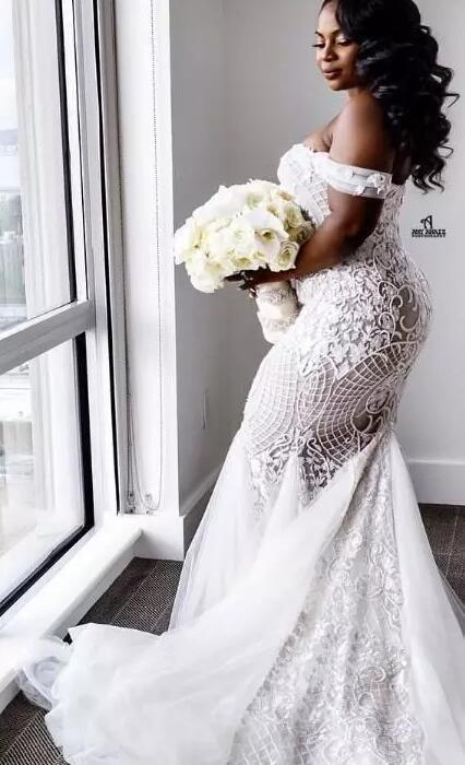 Mermaid Wedding Dresses Plus Size Off Shoulder