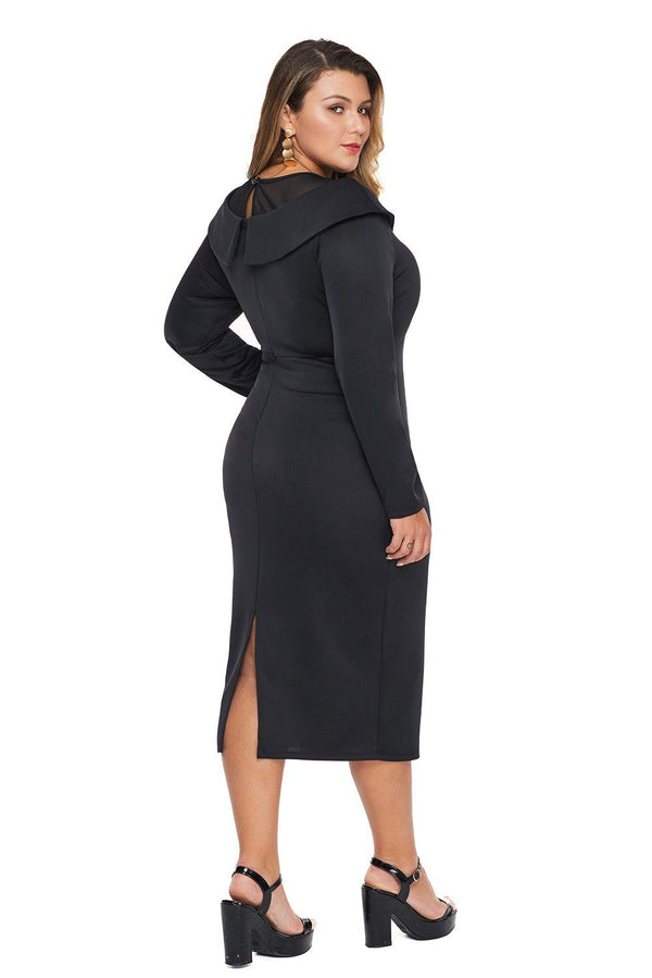 Mesh Neck Patchwork Plus Size Midi Dress dress