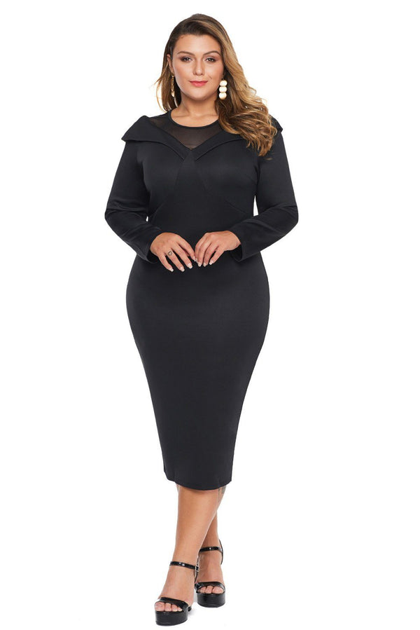 Mesh Neck Patchwork Plus Size Midi Dress dress Black 1X