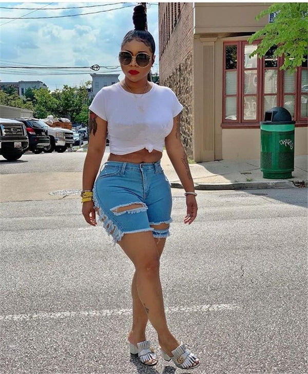 Mid Waist Ripped Short Jeans shorts