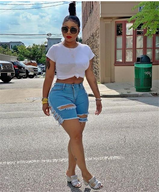Mid Waist Ripped Short Jeans shorts Light blue S