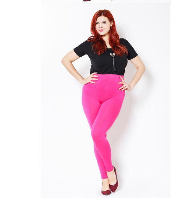 Modal Plus Size Leggings leggings Pink XXL
