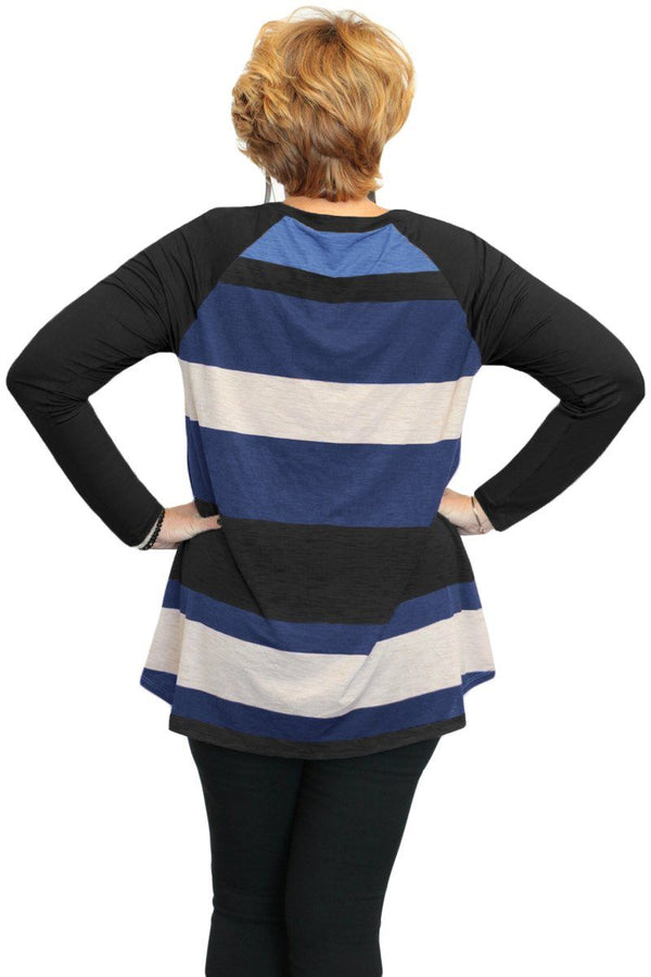 Multi Colorblock Raglan Sleeve Plus Size Women Top Tops