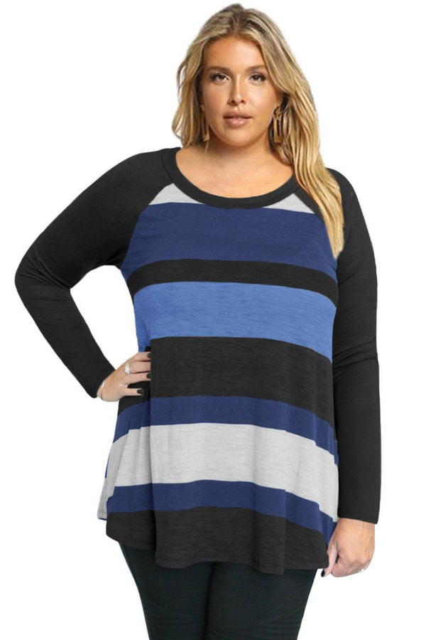 Multi Colorblock Raglan Sleeve Plus Size Women Top Tops Black 1X