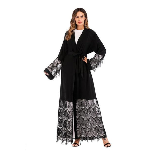 Muslim Elegant Sequins Clothing Kimono Dubai Dress dress Black XXL