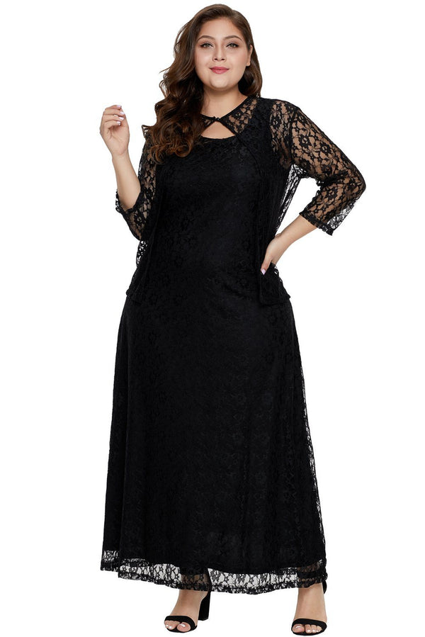 Nadia Plus Size Lace Dress dress Black 1X