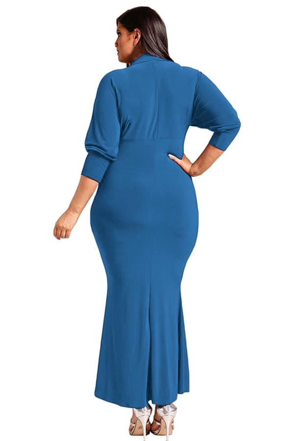 Navy Blue Plus Size Collared Deep V Maxi Dress dress