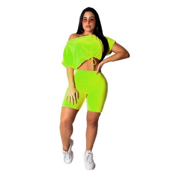 Neon 2 Piece Short Sleeve Tracksuit suit Army Green L