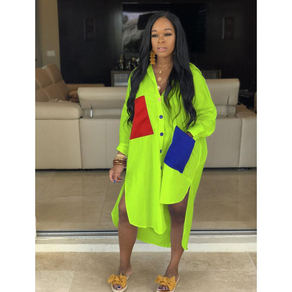 Neon Green Casual Shirt Dress dress