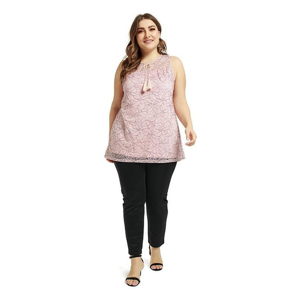 New 2020 casual loose sleeveless pink summer plus size blouse 3XL 4XL 5XL 6XL Tops