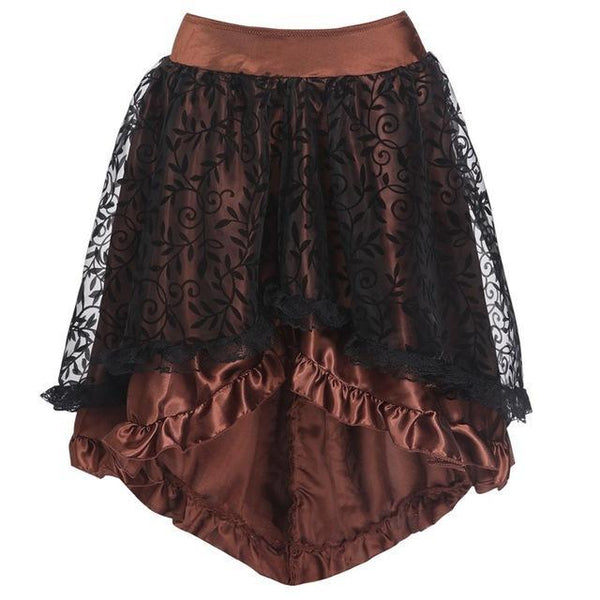 New Black Midi Elegant Tulle Skirt Gothic Pleated 6XL skirts Brown S