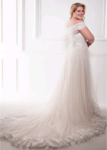 New Elegant Champagne Wedding Dress with Appliques wedding dress