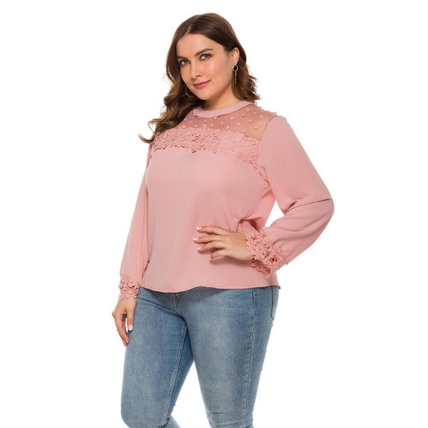 New spring autumn Large blouse long sleeve casual loose pink lace floral Tops