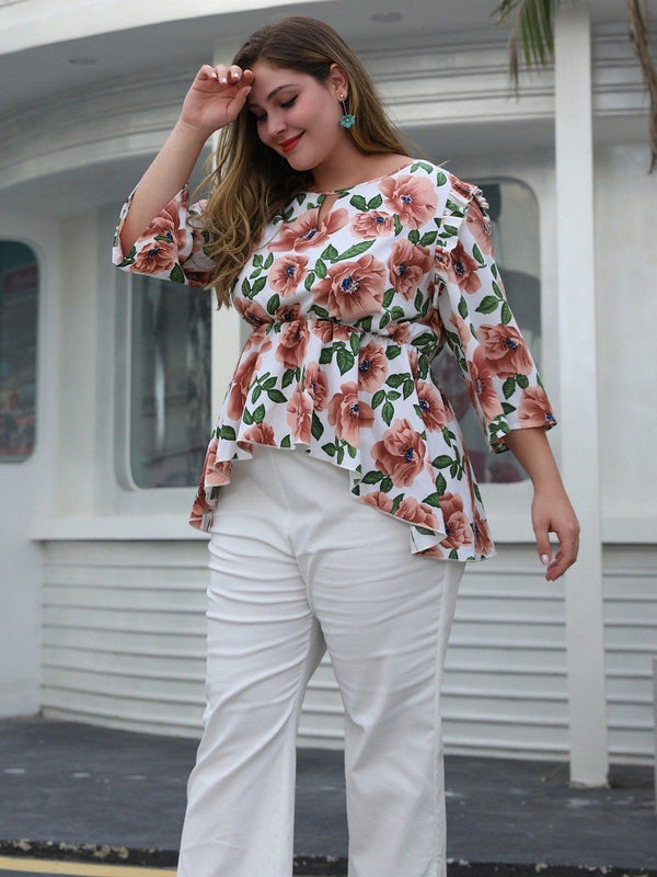 New spring summer plus size tops for women large blouse loose casual floral print flower O neck ruffle shirt 4XL 5XL 6XL 7XL Tops