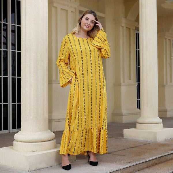 O Neck Flare Long Sleeve Striped Dress dress Yellow XXL