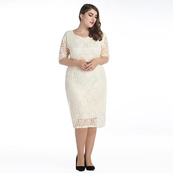 O Neck Half Sleeve Casual Lace Dress dress Beige M