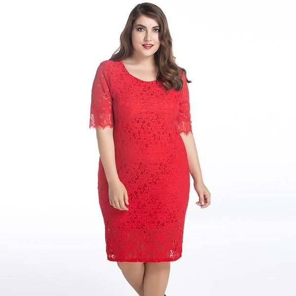 O Neck Half Sleeve Casual Lace Dress dress Red M