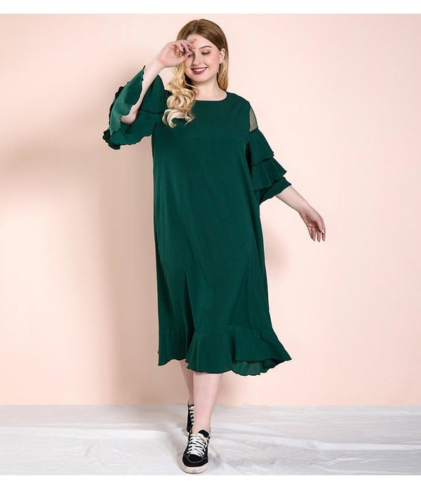 O Neck Layer Ruffles Flare Sleeve Casual Dress dress