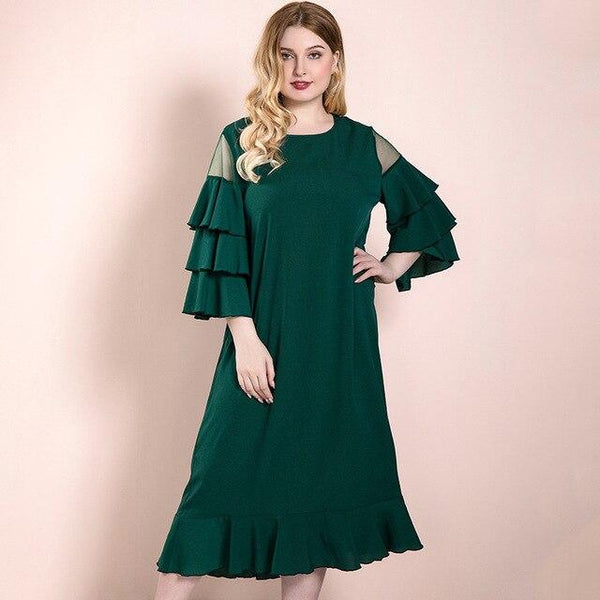 O Neck Layer Ruffles Flare Sleeve Casual Dress dress green 4XL