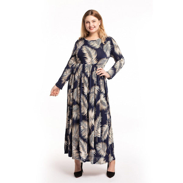 O Neck Leaves Print High Waist Boho Beach Dress dress