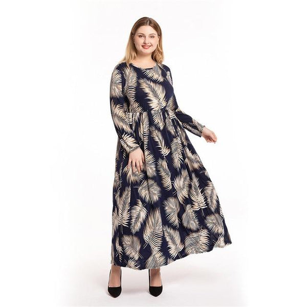 O Neck Leaves Print High Waist Boho Beach Dress dress Black L