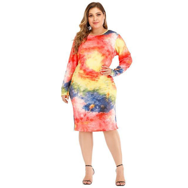O-Neck Long Sleeve Dress dress Multi XXL