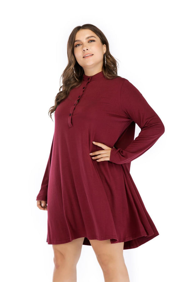 O Neck Long Sleeve Loose Solid Dress dress