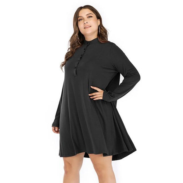 O Neck Long Sleeve Loose Solid Dress dress Black 5XL