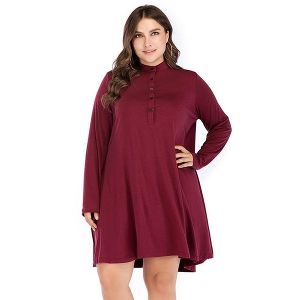 O Neck Long Sleeve Loose Solid Dress dress Burgundy 5XL