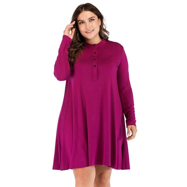 O Neck Long Sleeve Loose Solid Dress dress Red XXXL