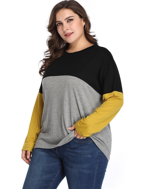 O Neck Long Sleeve Multicolor Elegant Top Tops