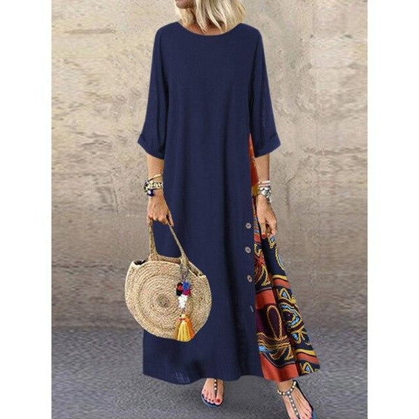 O Neck Long Sleeve Retro Printing Vintage Dress dress Navy Blue XL