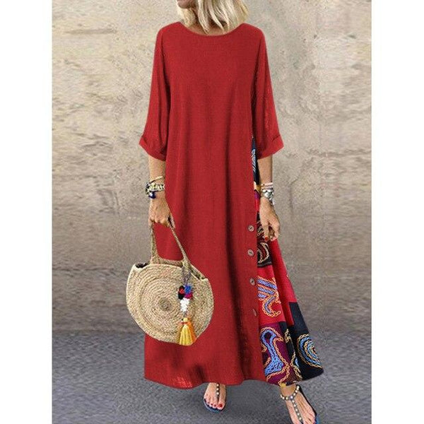 O Neck Long Sleeve Retro Printing Vintage Dress dress Red 5XL