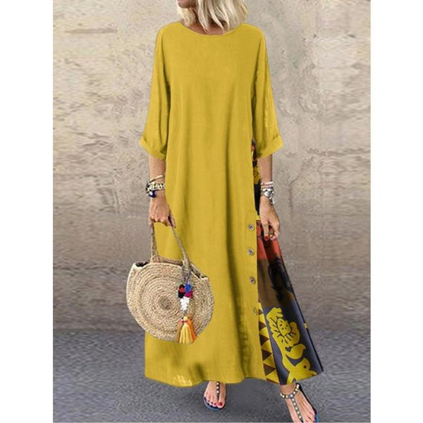 O Neck Long Sleeve Retro Printing Vintage Dress dress Yellow L