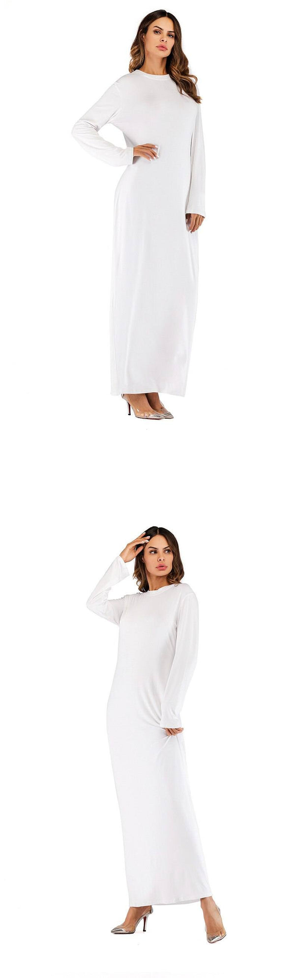 O Neck Long Sleeve Solid Long Dress dress