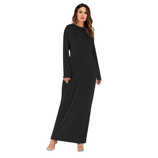 O Neck Long Sleeve Solid Long Dress dress Black XXL