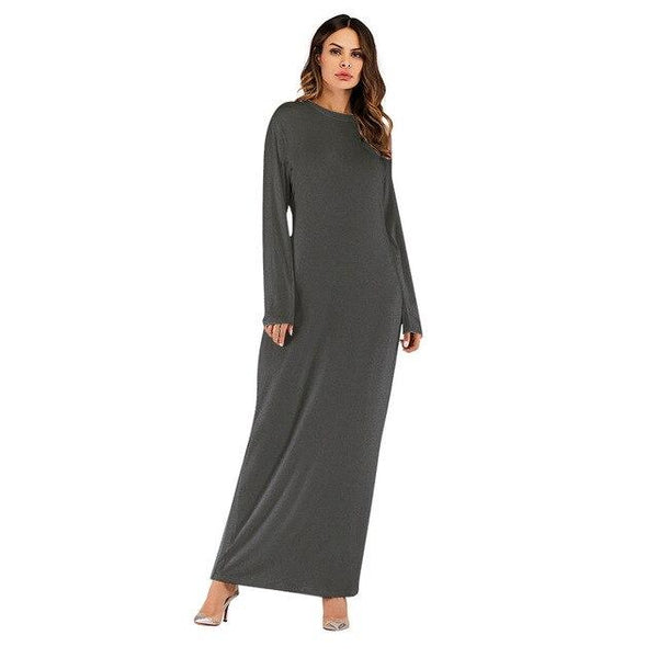 O Neck Long Sleeve Solid Long Dress dress Gray S