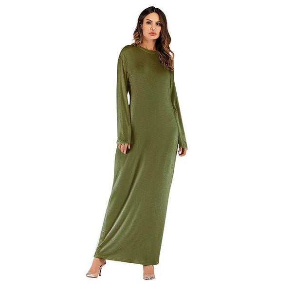 O Neck Long Sleeve Solid Long Dress dress green XXL