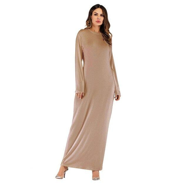 O Neck Long Sleeve Solid Long Dress dress kahki XL