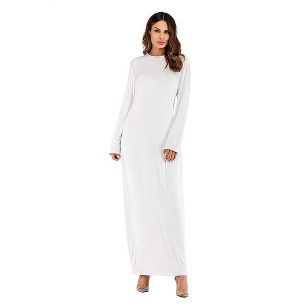 O Neck Long Sleeve Solid Long Dress dress White L