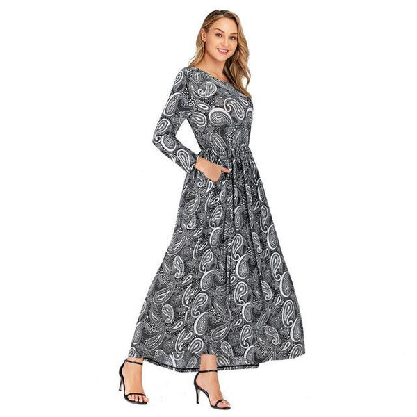 O Neck Retro Printing Vintage Dress dress Gray XL