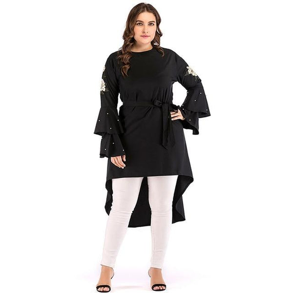 O Neck Ruffles Flare Long Sleeve Beading Blouse blouse Black XL