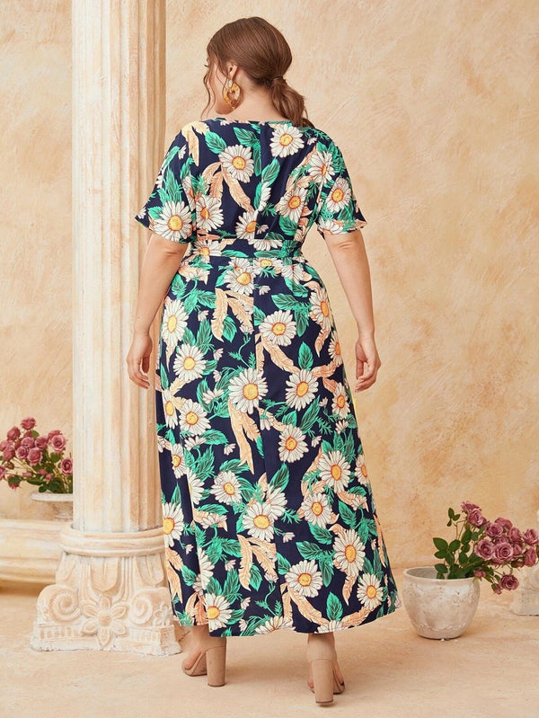O Neck Short Sleeve Floral Print Boho Beach Dress dress