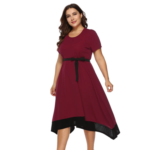 O Neck Short Sleeve High Waist Casual Dress dress