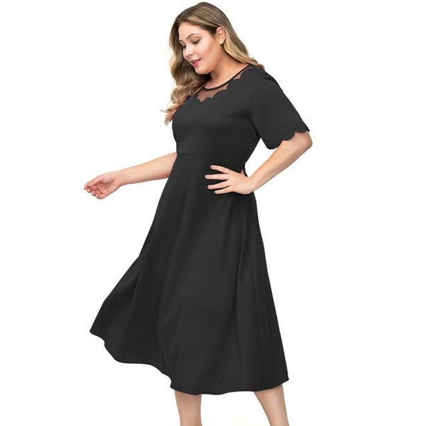 O Neck Short Sleeve Solid Party Dress dress Black 5XL