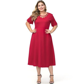 O Neck Short Sleeve Solid Party Dress dress Red 5XL