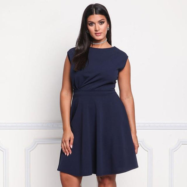 O Neck Sleeveless Casual Dress dress Blue XL