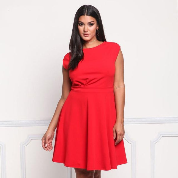 O Neck Sleeveless Casual Dress dress Red XL