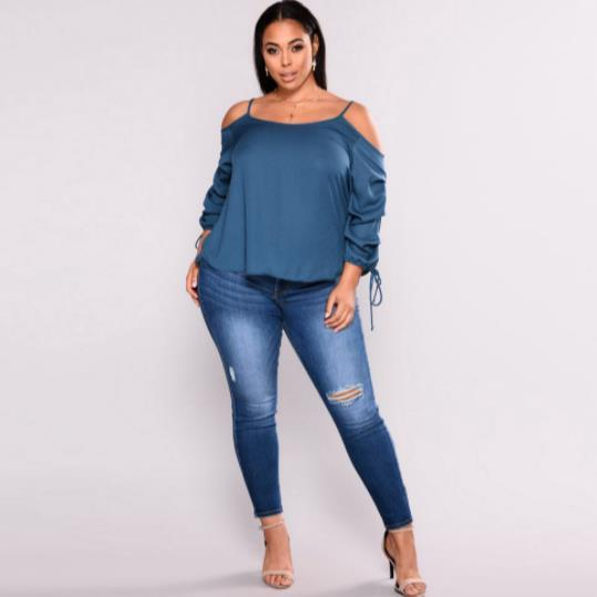 Off Shoulder Push Up Denim Pants pants